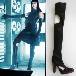 Sergio Rossi thigh high leather cutout boots